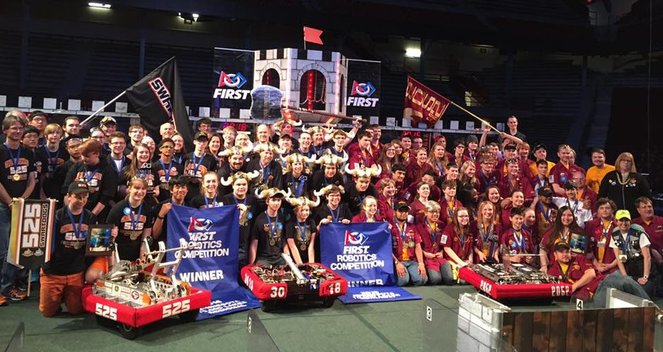 Saint Peter Robotics FRC- Team 3018 'Nordic Storm' and winning alliance partners at 2016 MN 10,000 Lakes Regional.